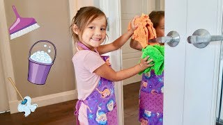 Juliahna helps Mommy with her Cleaning Toys Pretend Play!