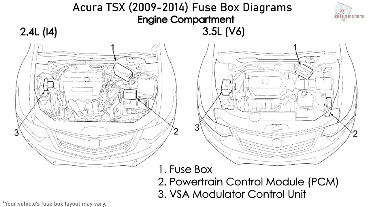 Acura TSX (2009-2014) Fuse Box Diagrams - YouTube | Tsx Engine Compartment Diagram |  | YouTube