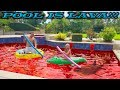 Pool is Lava Challenge!! Pool Monster Escape Prank on Giant Pool Toys!