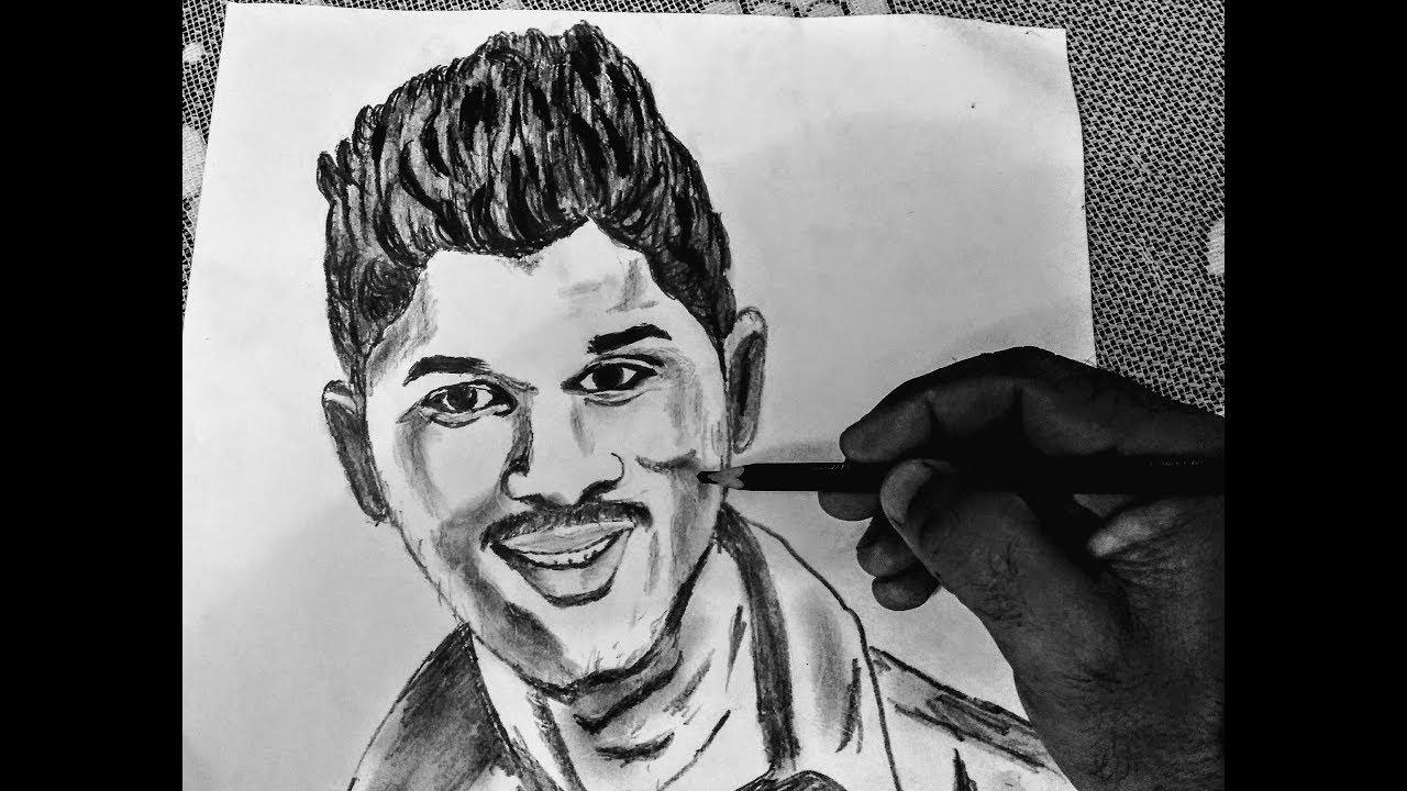 How to draw stylish star allu arjun pencil sketch
