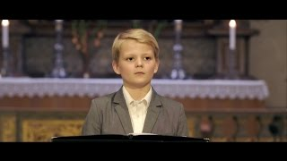 Video: Aksel Rykkvin 12yo boy soprano sings Alleluia, Mozart, Oslo Cathedral
