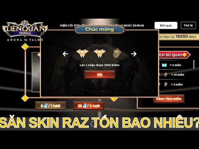 Quay vòng quay Chiến thần săn Skin RAZ Muay Thái tốn bao nhiêu quân huy?