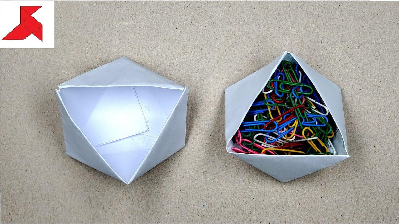 Как сделать коробку из оригами из бумаги 7