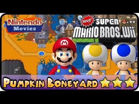 Newer Super Mario Bros. Wii   World 6   Pumpkin Boneyard (100%,