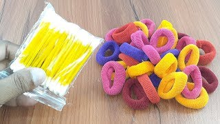 Amazing creative decorating idea with Cotton buds & Hair rubber bands | Diy home deco