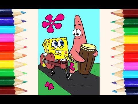 Cara Mewarnai Spongebob Squarepants Dan Patrick Star Bermain Musik