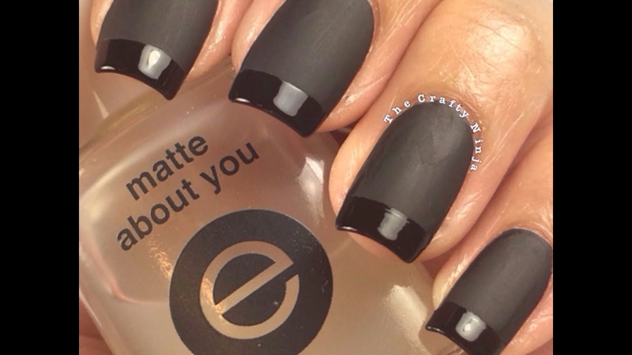 Matte black french tip manicure by the crafty ninja youtube solutioingenieria Choice Image
