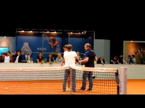 Julia Goerges training with Mats Wilander @ Porsche Tennis Grand Prix 2014