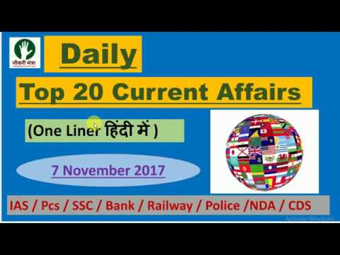 Daily Current Affairs (Top 20 onliner ) For SSC / Bank /Ias  / Pcs /