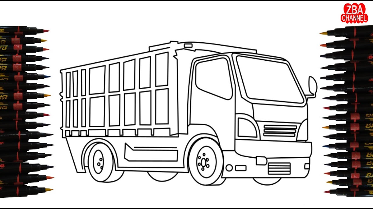 gambar mewarnai truk besar