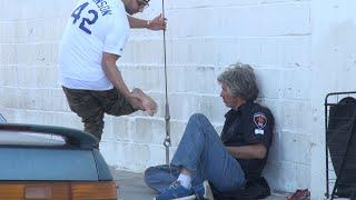 Giving Jordans To The Homeless!