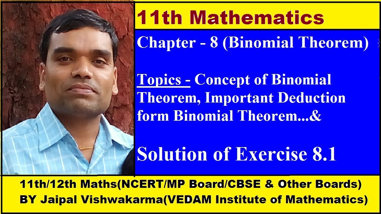 11th NCERT Maths, Chapter 8, Binomial Theorem in Hindi (Exercise 8.1)