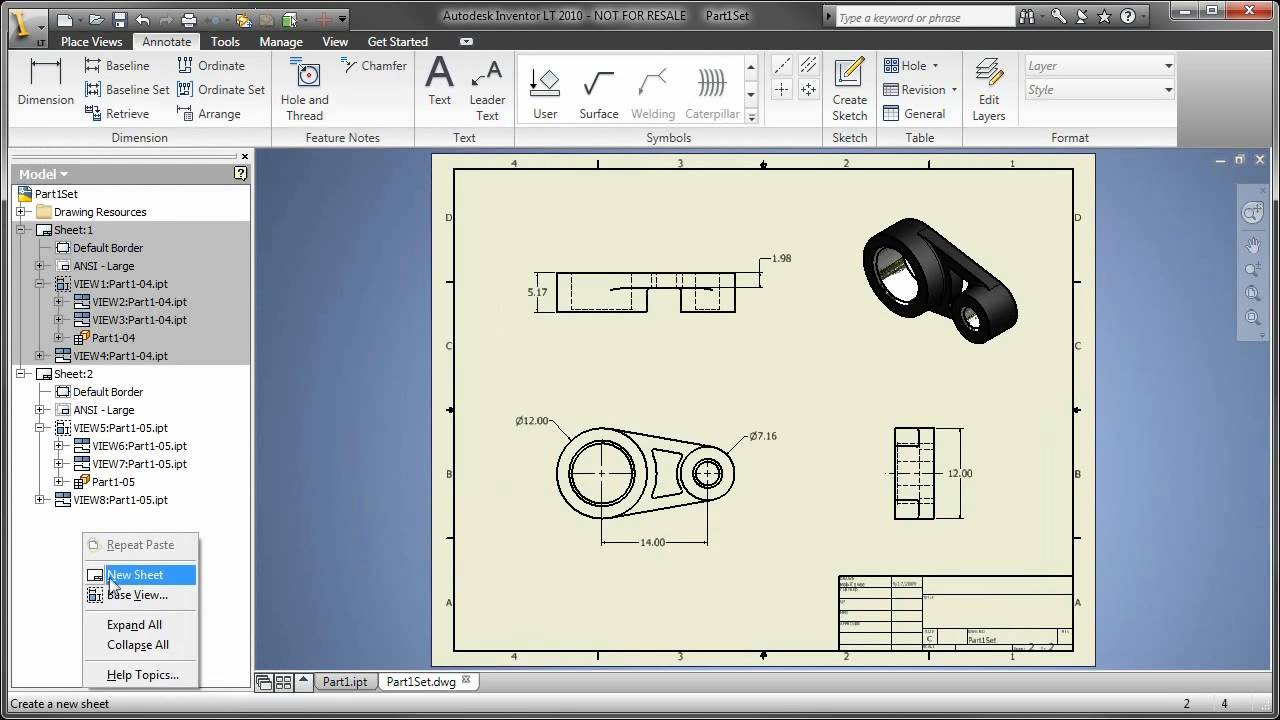 Part 5 Autocad Inventor Lt Suite Creating Multi Sheet