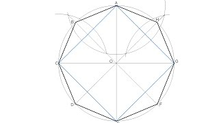 How to draw a regular octagon inscribed in a circle