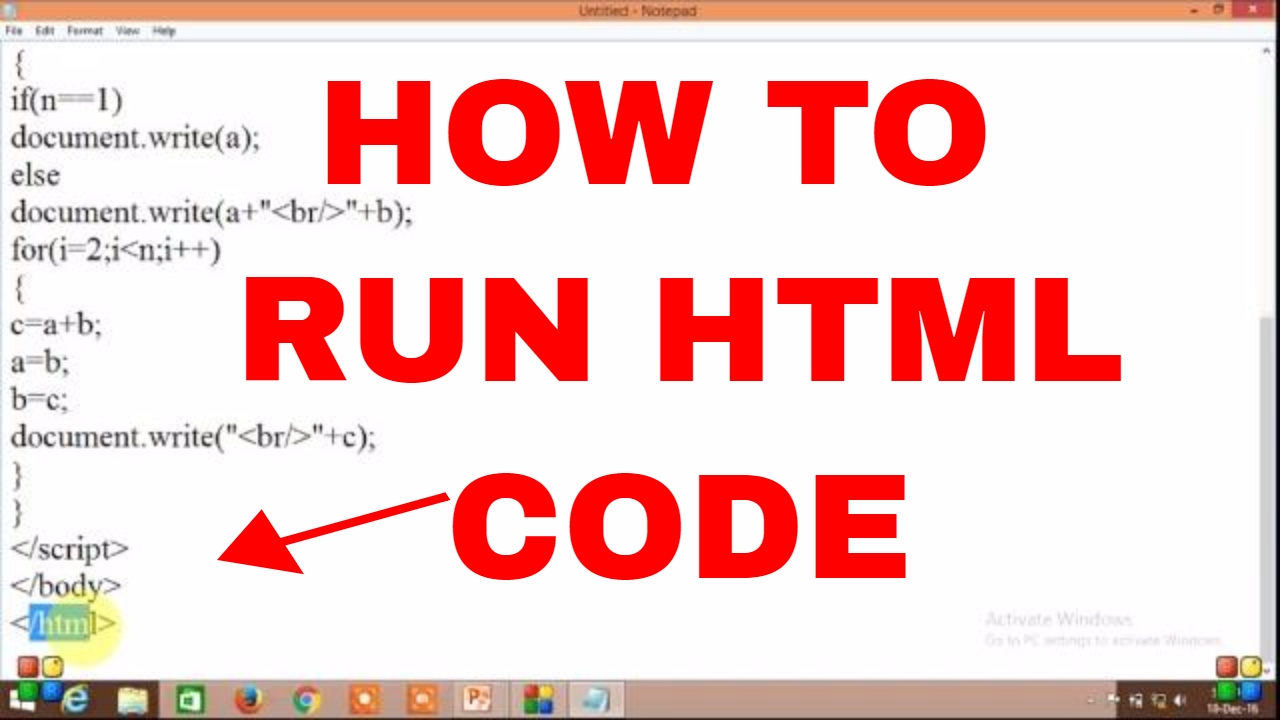 How to run and execute HTML code in windows - YouTube