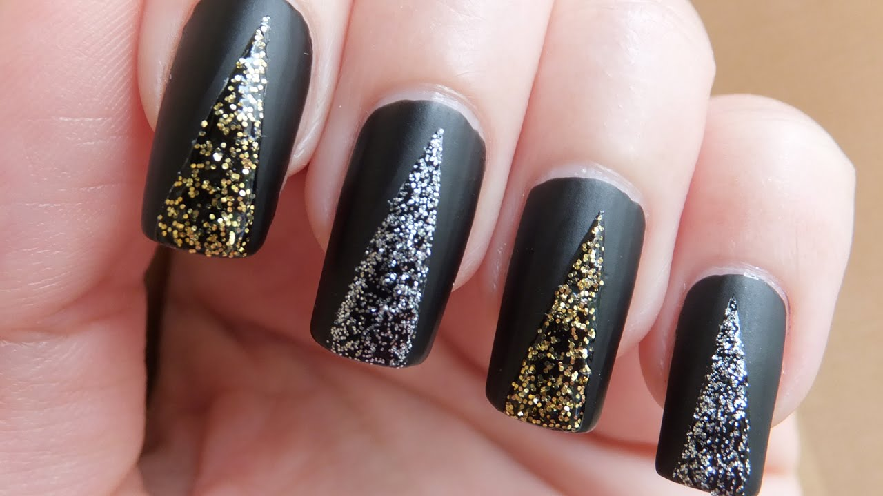 Easy Prom Nails - Black Matte With Glitter Nail Art Design Tutorial ...