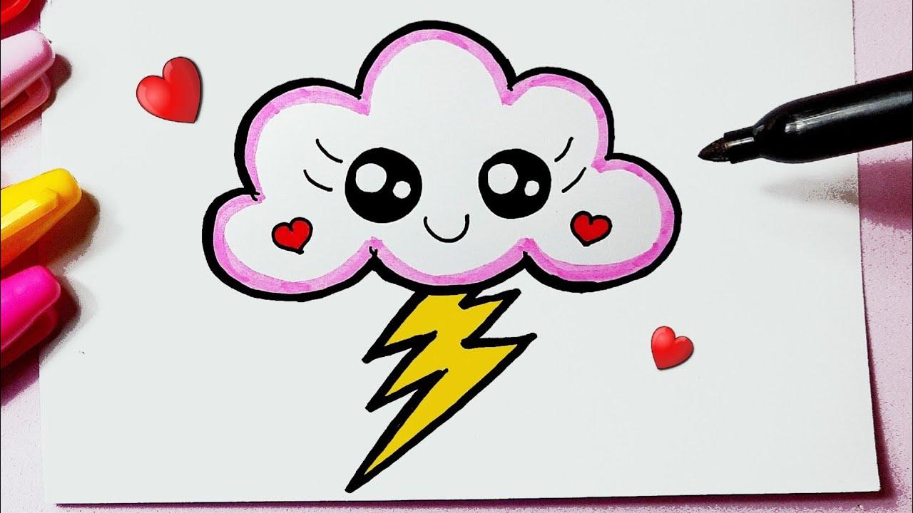 Como desenhar Nuvem fofa com Raio Kawaii ❤ Desenhos Kawaii - Desenhos para Desenhar