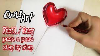 COMO DIBUJAR UN CORAZON | REALISTA | PALETA DE CORAZON | how to draw realistic heart | cady heart
