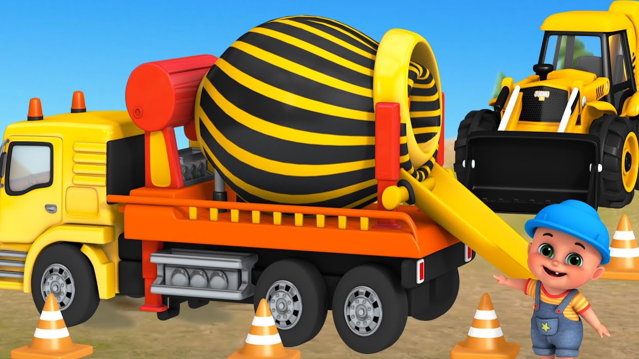 Excavator, Dump truck, Cement mixer truck, Road roller & Construction vehicles toys