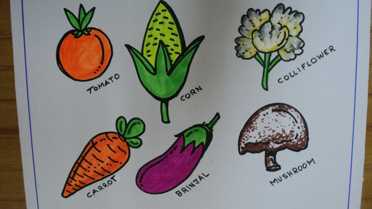 How To Easy Vegetable Drawing Tutorial for kids - YouTube