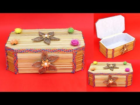 DIY jewellery box making at home || easy hamdmade things || new storage box making with wooden stick