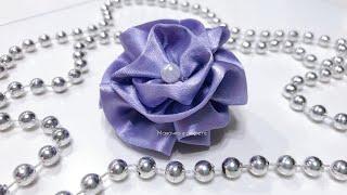 DIY | Цветок из атласной ленты. Очень простой способ.