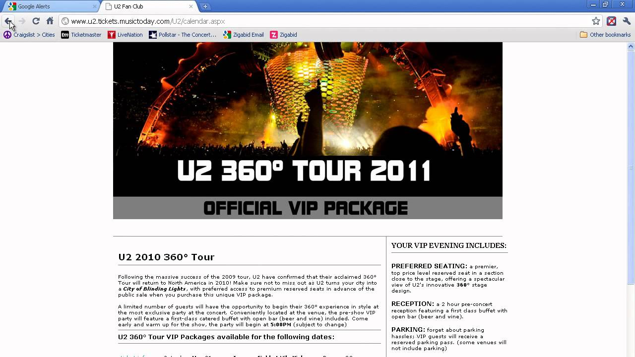 How To Buy Tickets For U2 On Their 2011 Tour Youtube