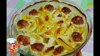 Рецепт картошки в духовке с фаршем мясными шариками