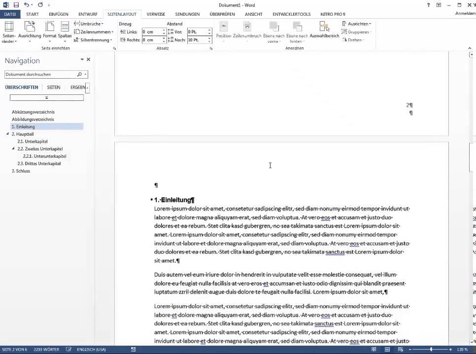 Word 2013 Seitenzahlen Mit Deckblatt Und Inhaltsverzeichnis Youtube