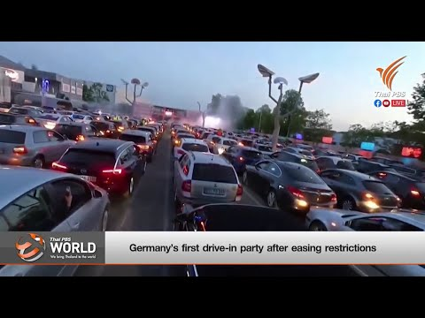 Germany's first drive-in party after easing restrictions