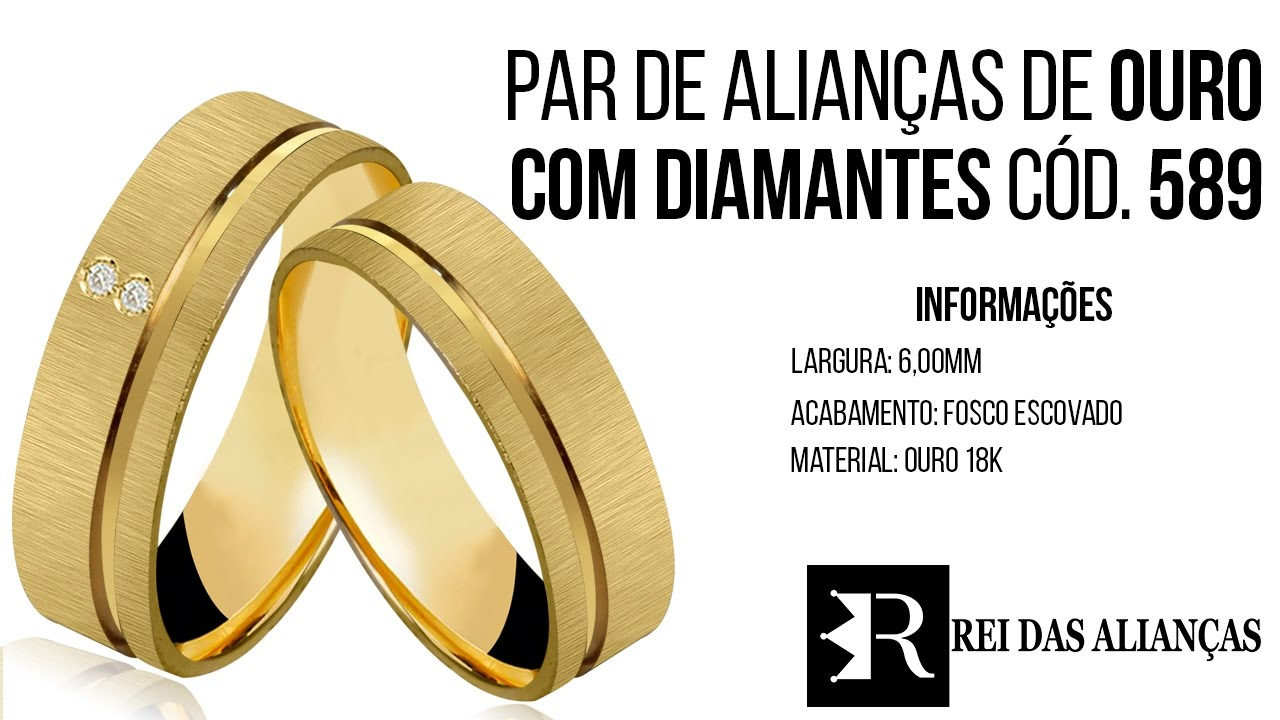 c8bbde0c055 Alianças em Ouro Noivado ou Casamento Uruguaiana - Cód. 589 Rei das Alianças