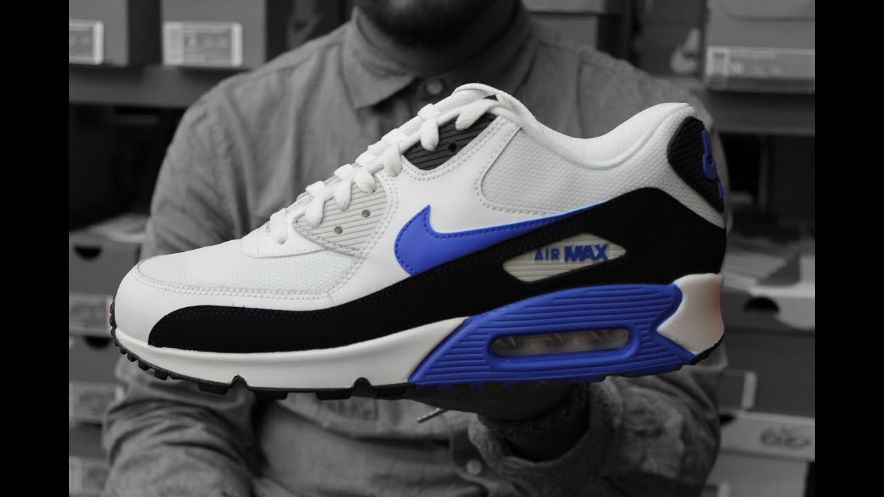 Nike Air Max 90 Hyper Blue On Feet Sneaker Review - YouTube