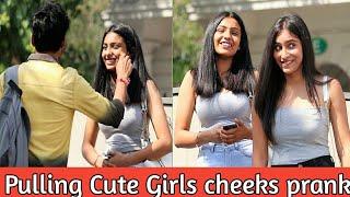 Pulling Cute Girls cheeks prank    Asking ' AAPKE DIL KA RASTA'    Prank in india    MindlessLaunde