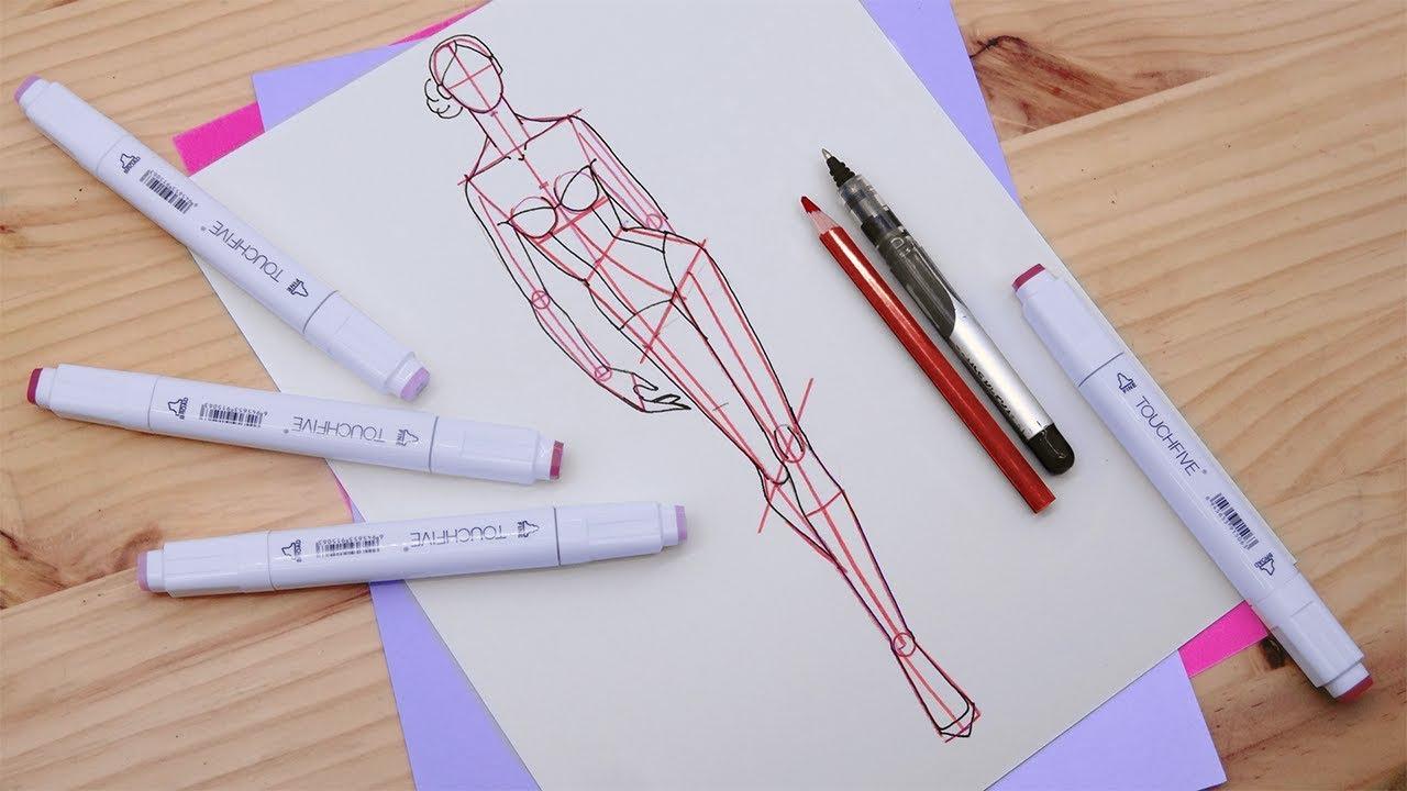 Download Dibujos de moda: Dibuja un figurín de mujer caminando