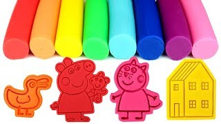 Play Doh Learn Colors with Fun Molds Peppa George Pig Polly Parrot Tayo Garage Surprise Toys