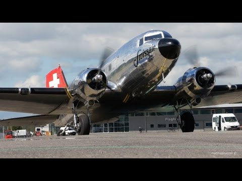 HISTORIC Swissair Douglas DC-3 Start Up & Take-Off -  Great Sound!