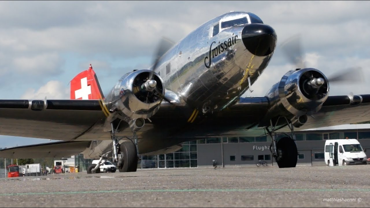 dc interiors douglas dc 3 restoration HISTORIC Swissair Douglas DC-3 Start Up u0026 Take-Off - Great Sound!