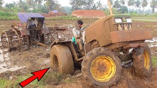 John Deere Tractor Stuck In Mud Get Helps Mahindra Tractor with Cage Wheels   Tractor Videos