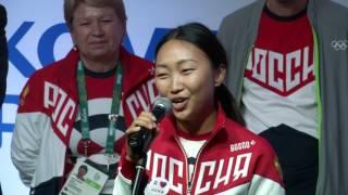 Церемония чествования команды России. Фехтование и стрельба из лука.