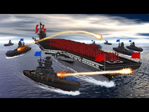 Minecraft | RAFT FORT VS UNITED STATES WARSHIP! (Boat Wars Challenge)
