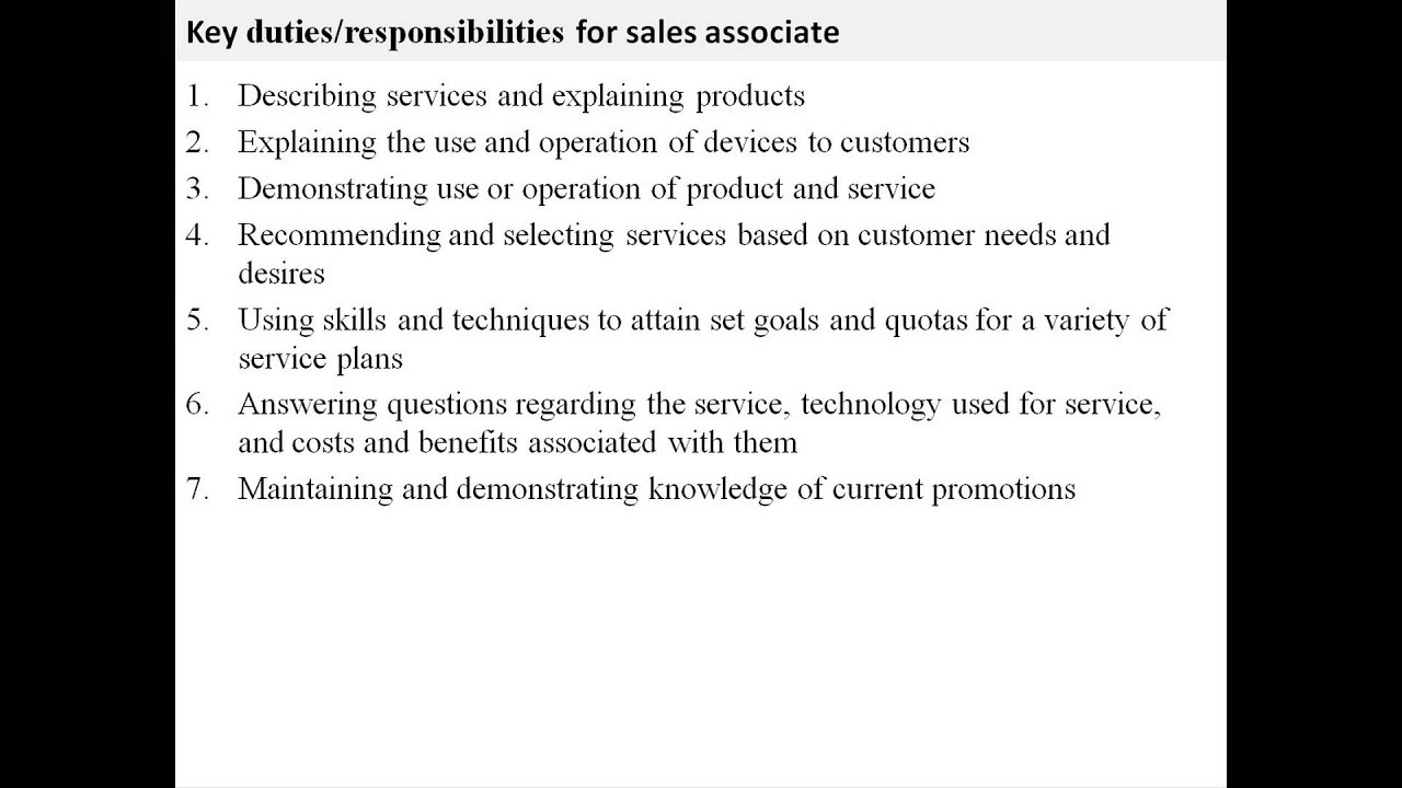 retail sales associate job duties for resume