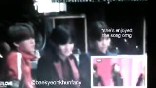 "Taeyeon reaction to Baekhyun Dance ""Cheer Up "" in Mama 2016"