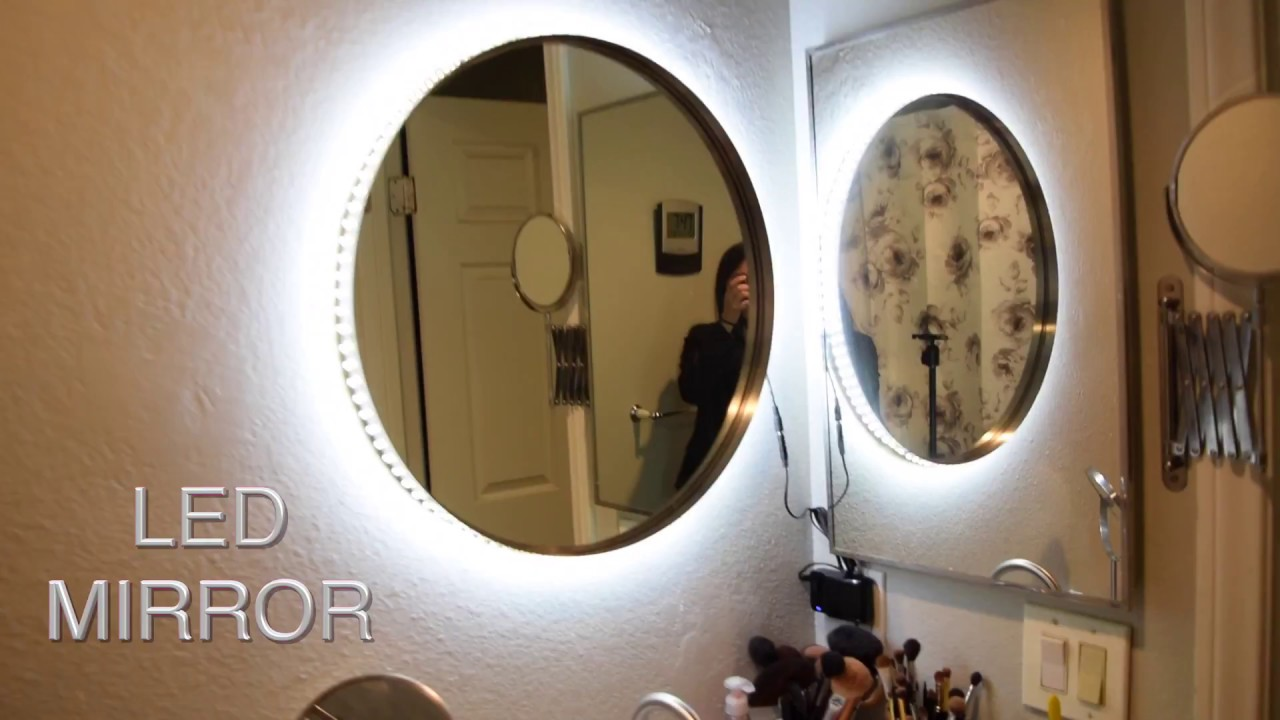 DIY Vanity Mirror w LED Lights cheap and easy TesiaBeau - YouTube