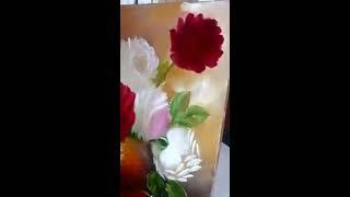 Pintando rosas  óleo sobre tela..