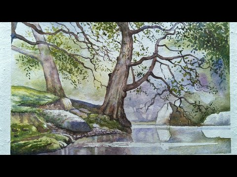 Time lapse Watercolor Painting/Reflection in the River Wye/-(Detsung Daimary)