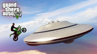 INSANE UFO MOTORBIKE STUNT! - (GTA 5 Top 10 Stunts)