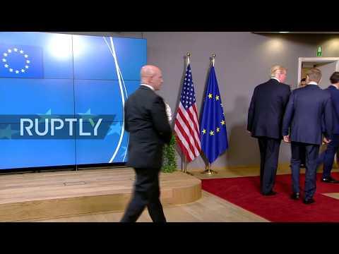 LIVE: Donald Trump arrives at EU Council to meet with EU leaders