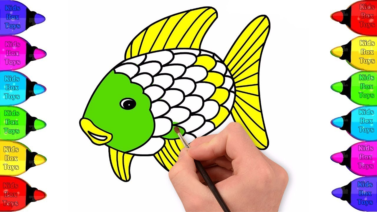 How to Draw Rainbow Fish Coloring pages for kids ...