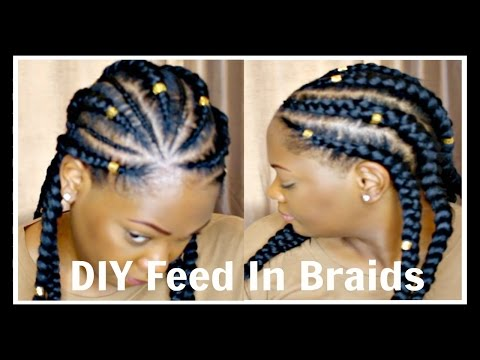 How To DIY Feed-In Braids/Cornrows/Ghana Braids