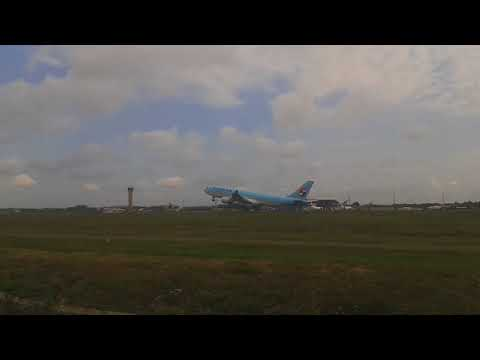 Korean Air Airbus A330-200 Take Off From Lombok International Airport